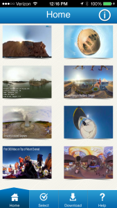 Interface for the 360Heros 360 Video Viewer iPhone and iPad app