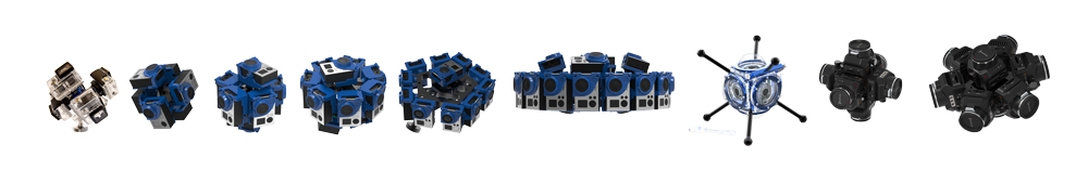 a selection of 360 video camera holders from 360RIZE